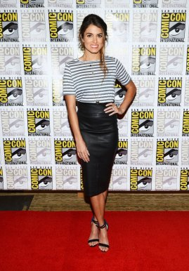 Nikki-Reed-highlighted-her-svelte-form-slick-black-leather-Robert-Rodriguez-pencil-skirt-paired-striped-Lady-amp-Sailor-t-shirt-black-Tibi-sandals