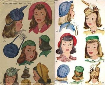 Women's hats in 1945 // Photo retrieved from HERE