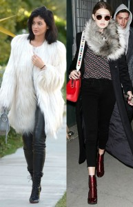 Kylie Jenner and Gigi Hadid wearing their fur found on whowhatwear.com