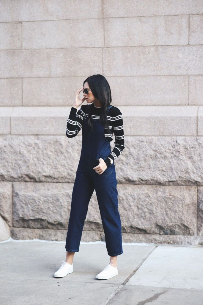 A chic & comfy way to wear overalls in the city